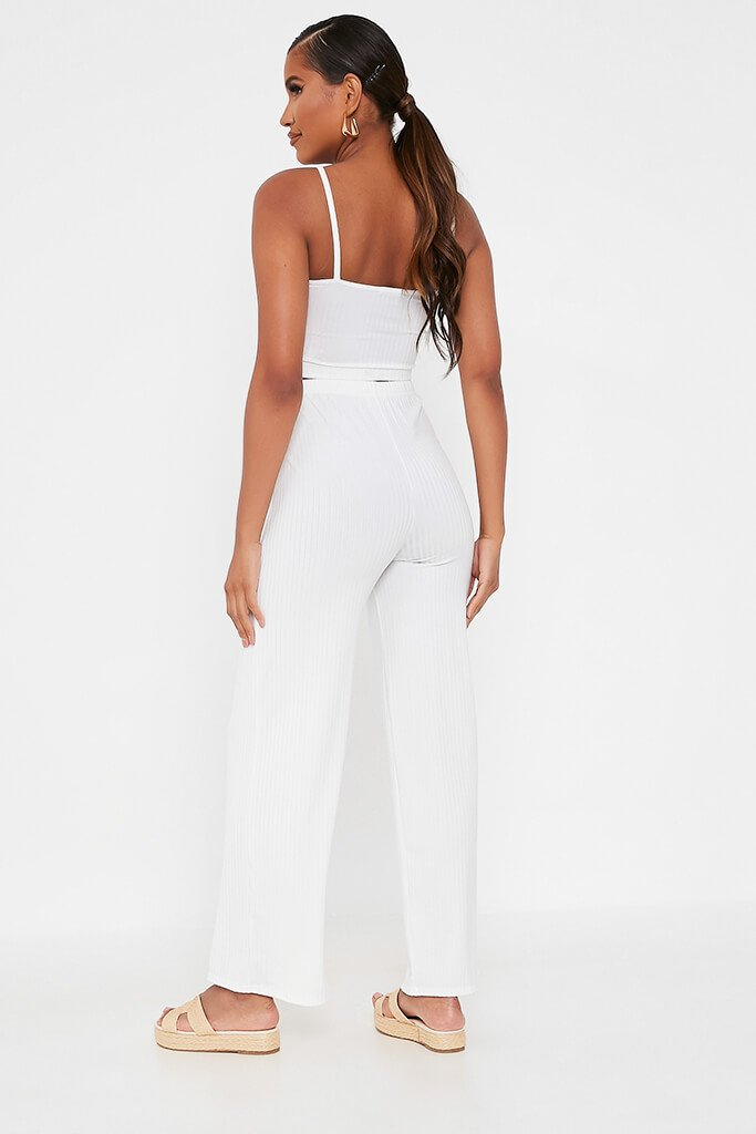 White Ribbed Wide Leg Trouser view 5