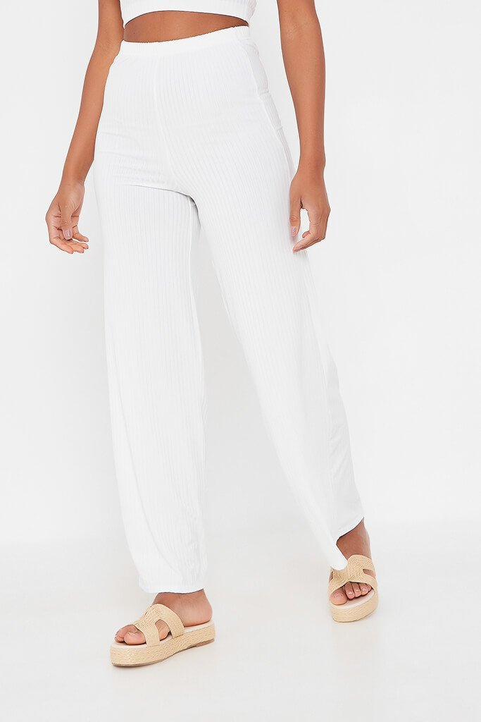 White Ribbed Wide Leg Trouser view 2
