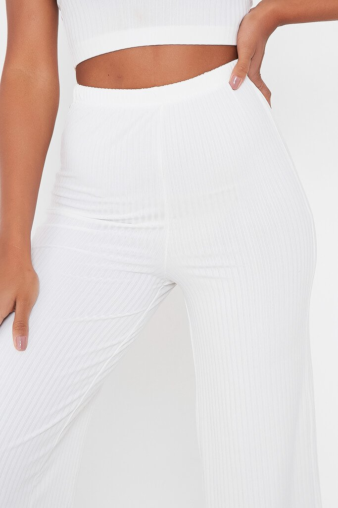 White Ribbed Wide Leg Trouser view 4