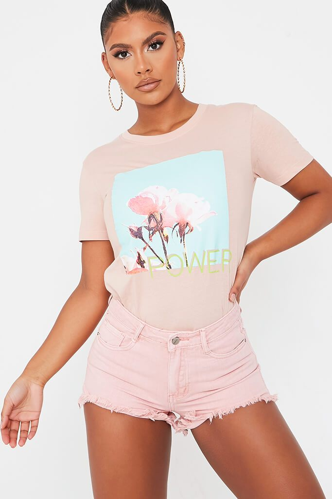 Baby Pink Distressed Denim Shorts view main view