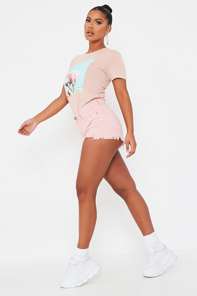 Baby Pink Distressed Denim Shorts view 3