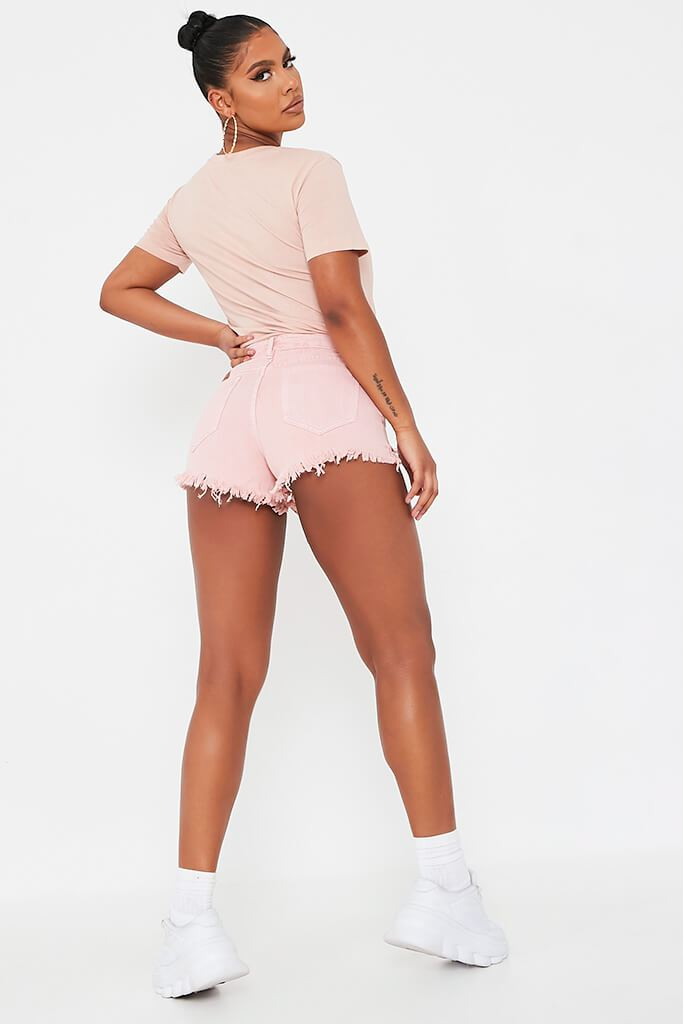 Baby Pink Distressed Denim Shorts view 5