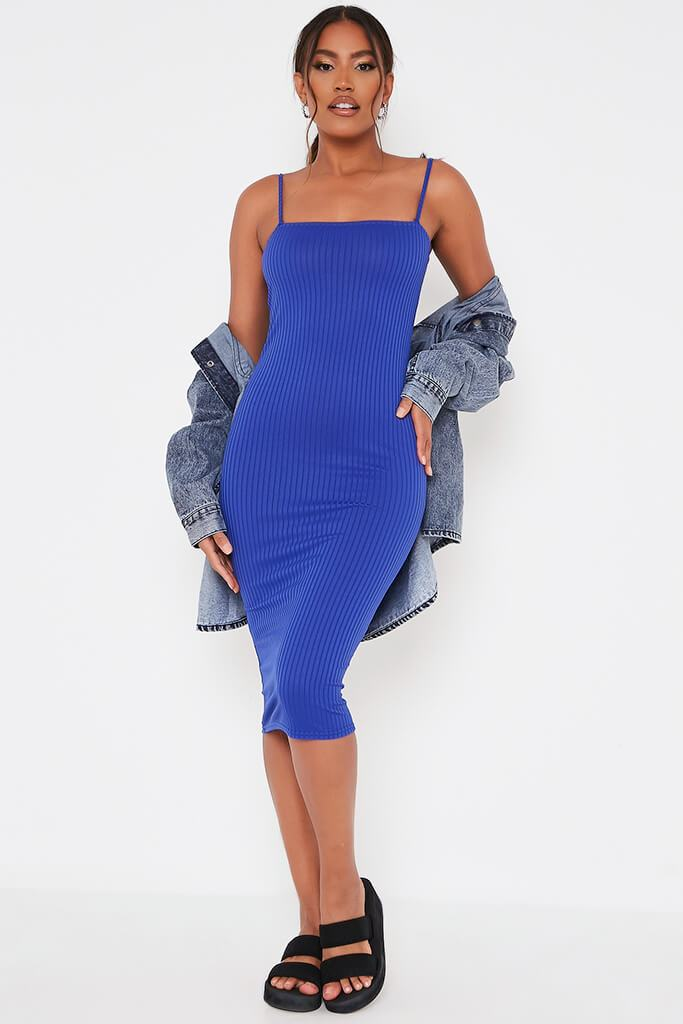 Cobalt Blue Ribbed Square Neck Cami Midi Dress