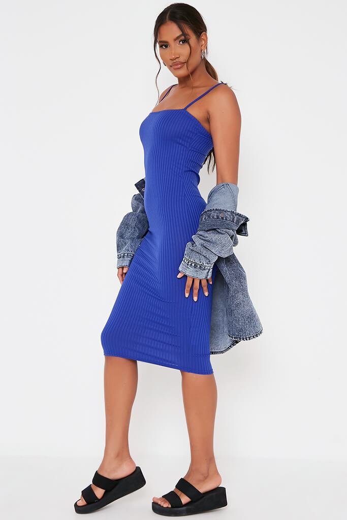 Cobalt Blue Ribbed Square Neck Cami Midi Dress view 3