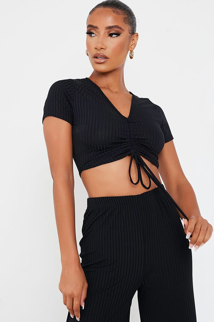 Black Short Sleeve Ruched Front Crop Top