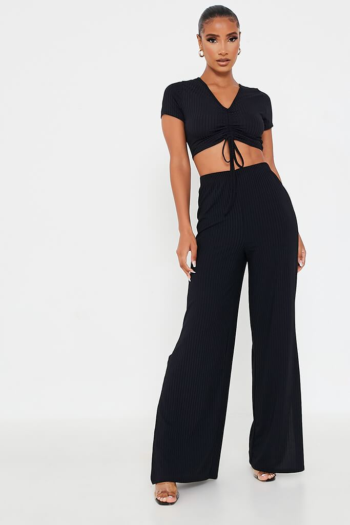 Black Short Sleeve Ruched Front Crop Top view 2