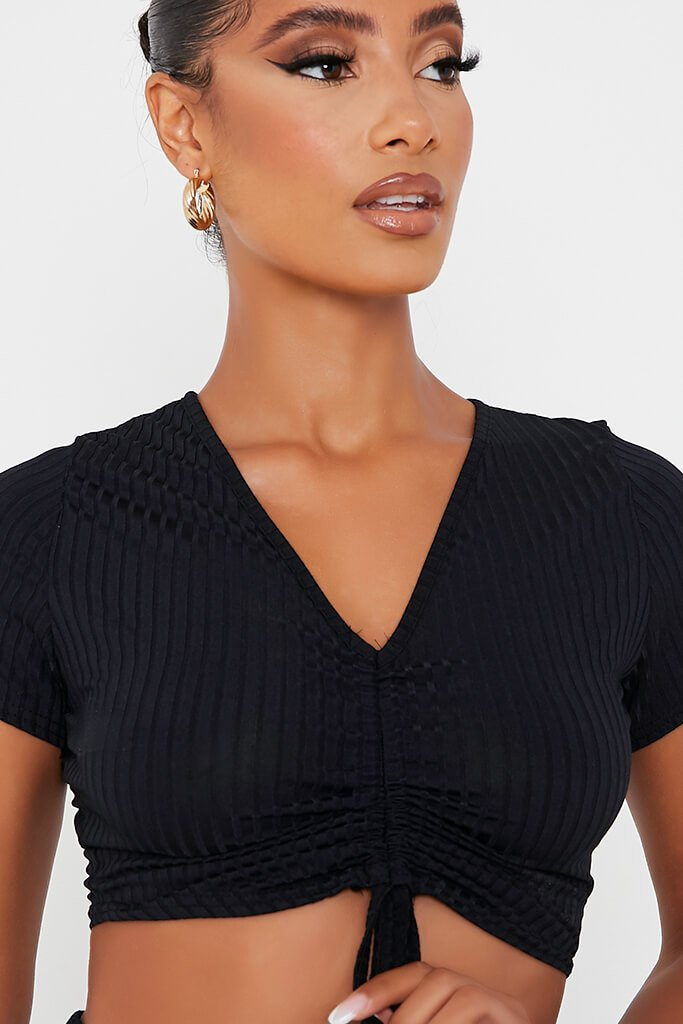Black Short Sleeve Ruched Front Crop Top view 5