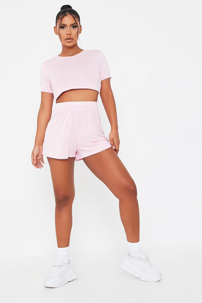 Baby Pink Basic T-Shirt And Shorts Lounge Set view 2