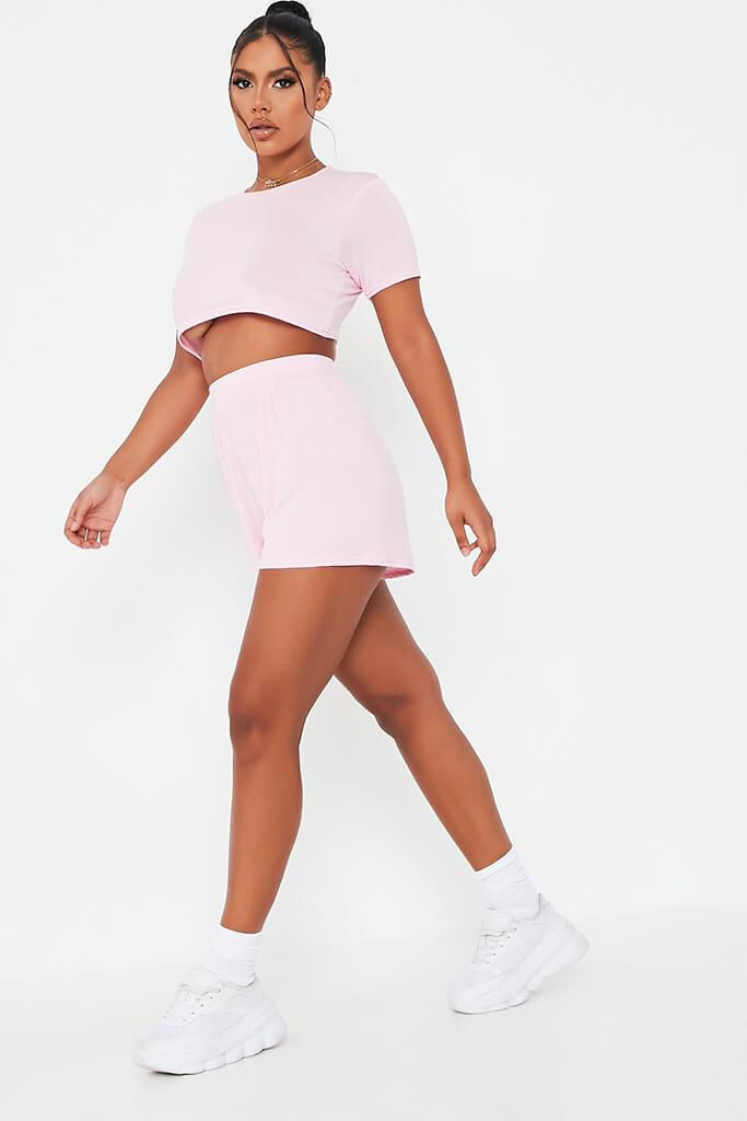 Baby Pink Basic T-Shirt And Shorts Lounge Set view 3