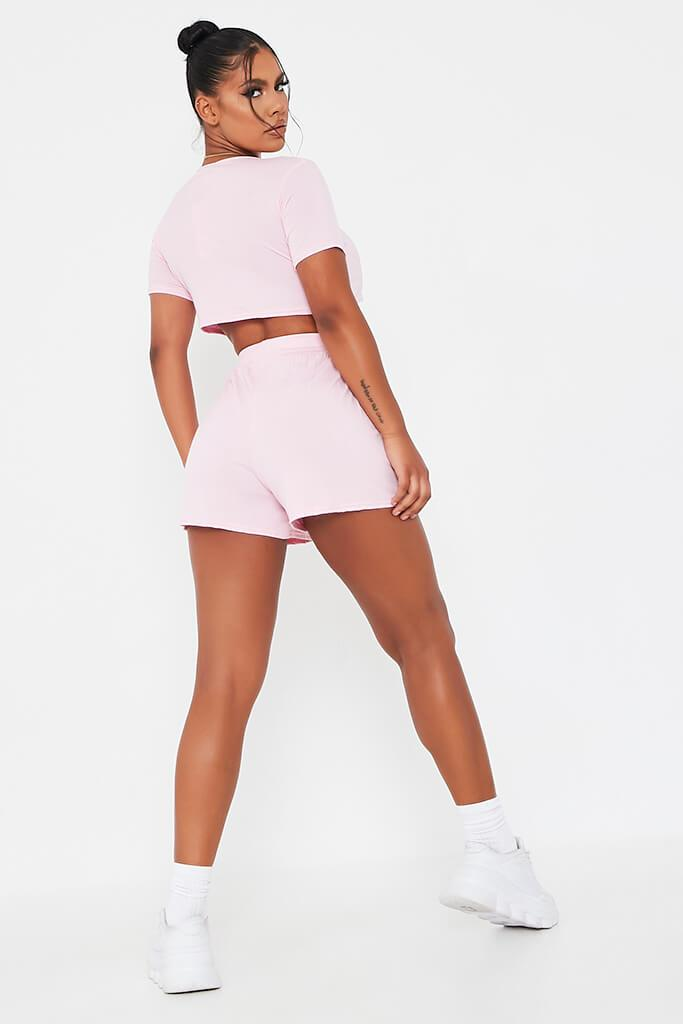 Baby Pink Basic T-Shirt And Shorts Lounge Set view 5