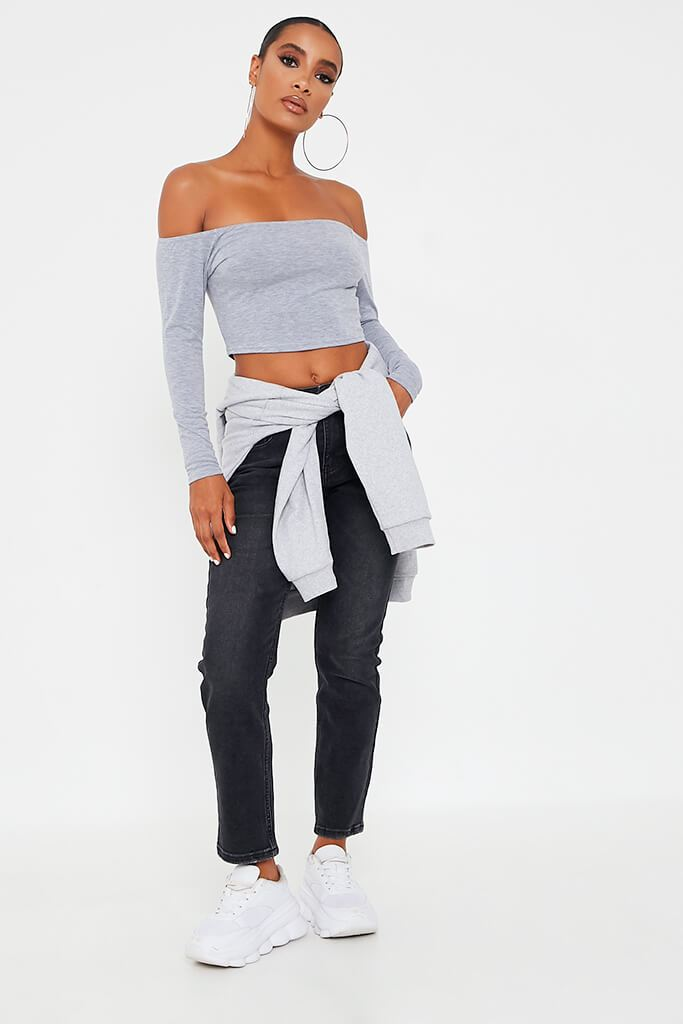 Grey Marl Basic Bardot Long Sleeve Crop Top view 2