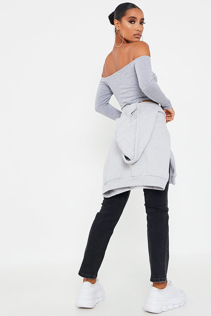 Grey Marl Basic Bardot Long Sleeve Crop Top view 5