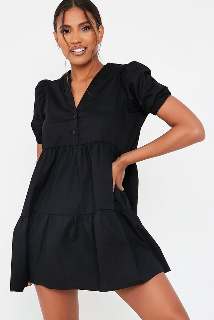 Black Woven Puff Sleeve V Neck Smock Dress