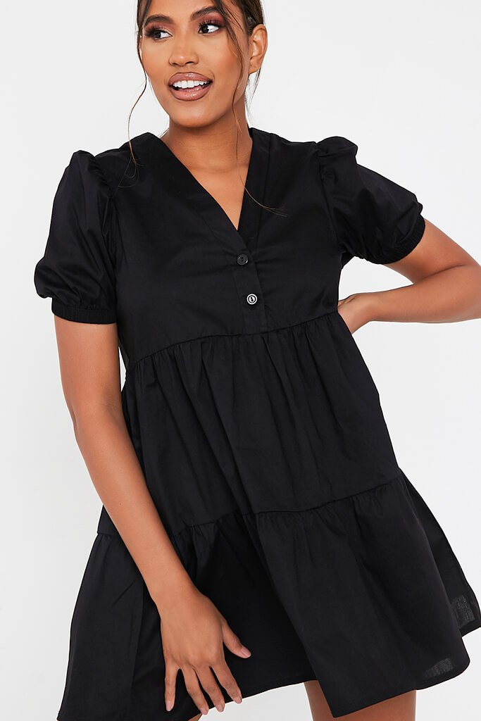Black Woven Puff Sleeve V Neck Smock Dress view 4
