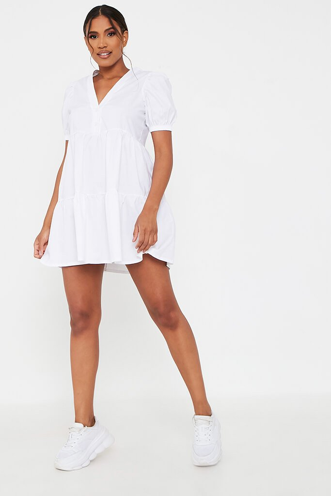 White Woven Puff Sleeve V Neck Smock Dress view 2