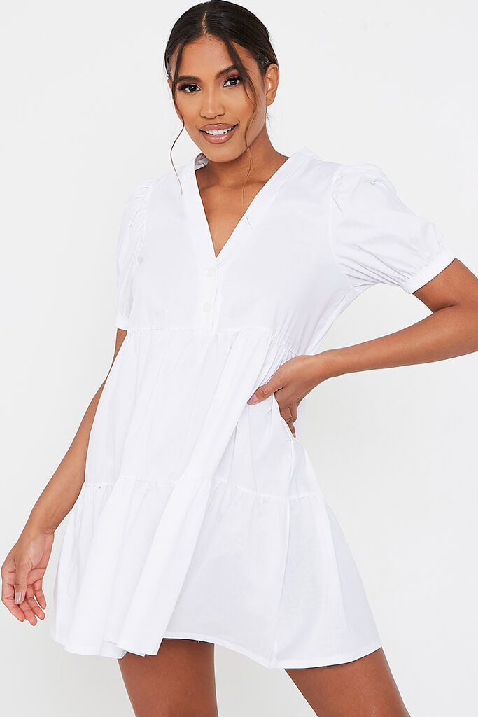 White Woven Puff Sleeve V Neck Smock Dress
