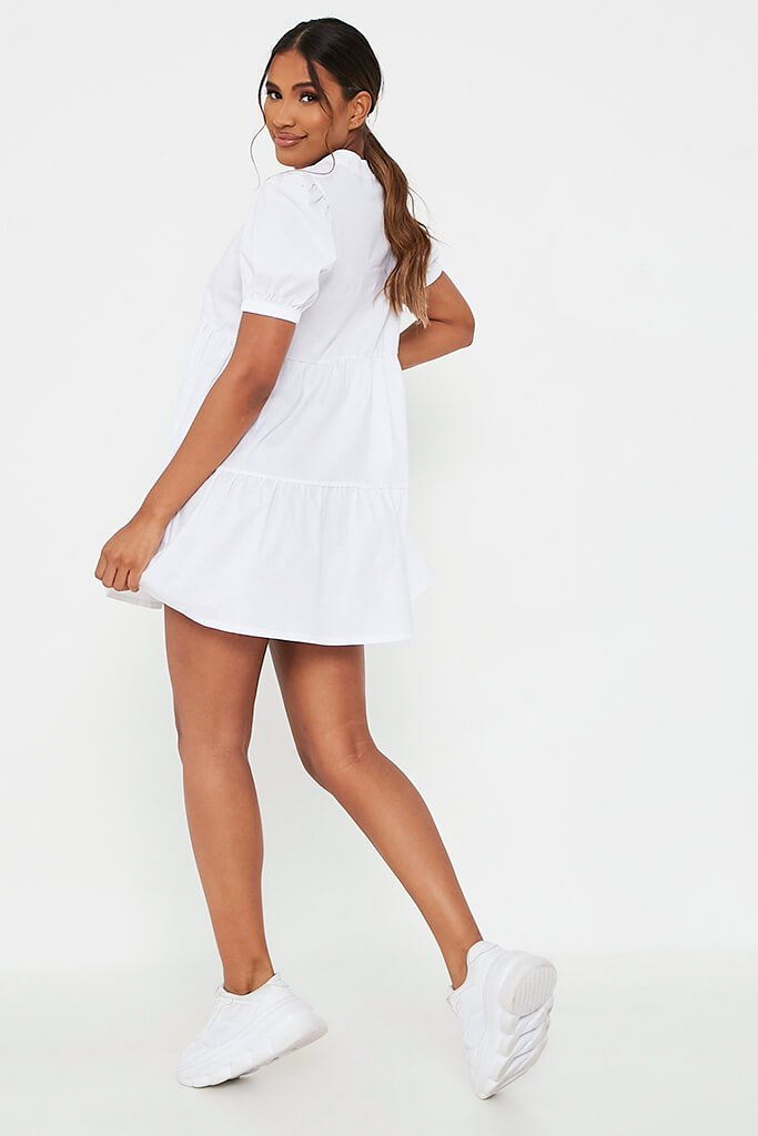 White Woven Puff Sleeve V Neck Smock Dress view 5
