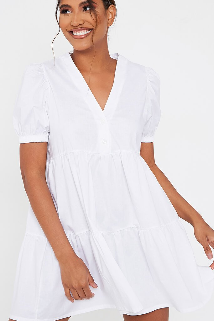 White Woven Puff Sleeve V Neck Smock Dress view 4