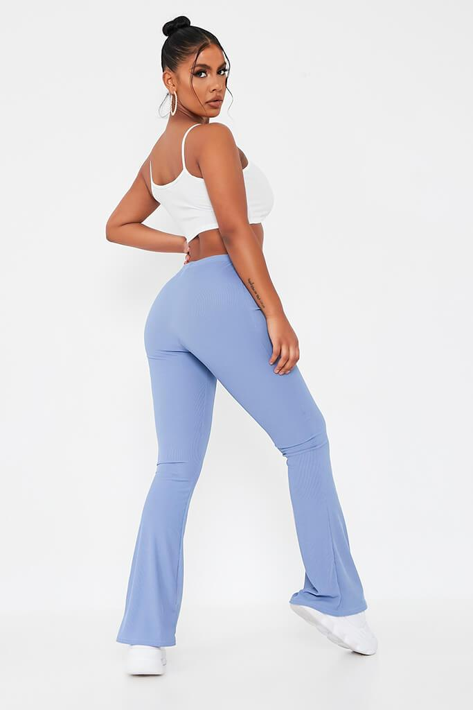 Pastel Blue Ribbed Flared Trousers view 5