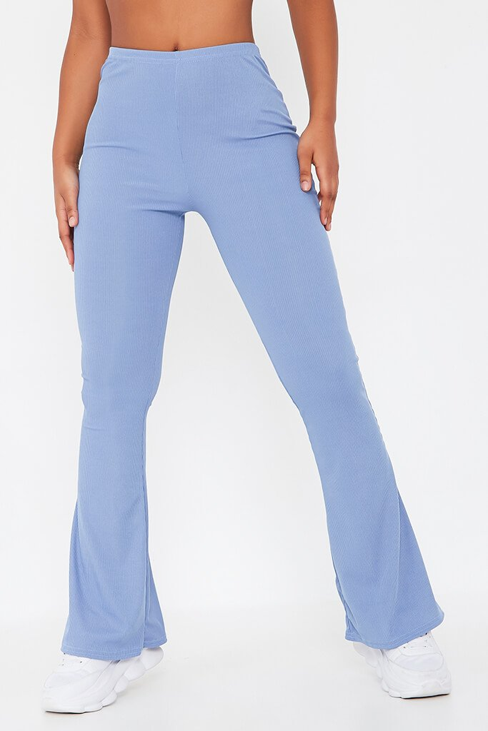 Pastel Blue Ribbed Flared Trousers view 2