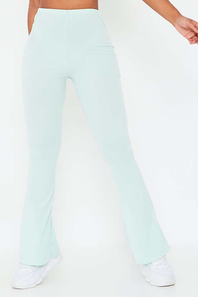Mint Green Ribbed Flared Trousers view 2
