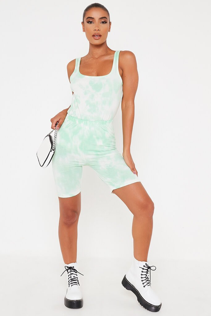 Mint Green Tie Dye Scoop Vest Bodysuit view 3