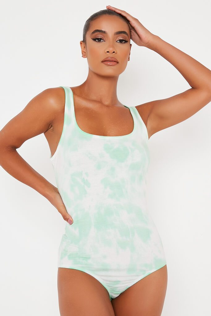 Mint Green Tie Dye Scoop Vest Bodysuit view 2