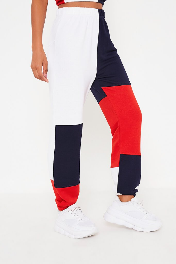 Navy Colour Block Joggers view 2