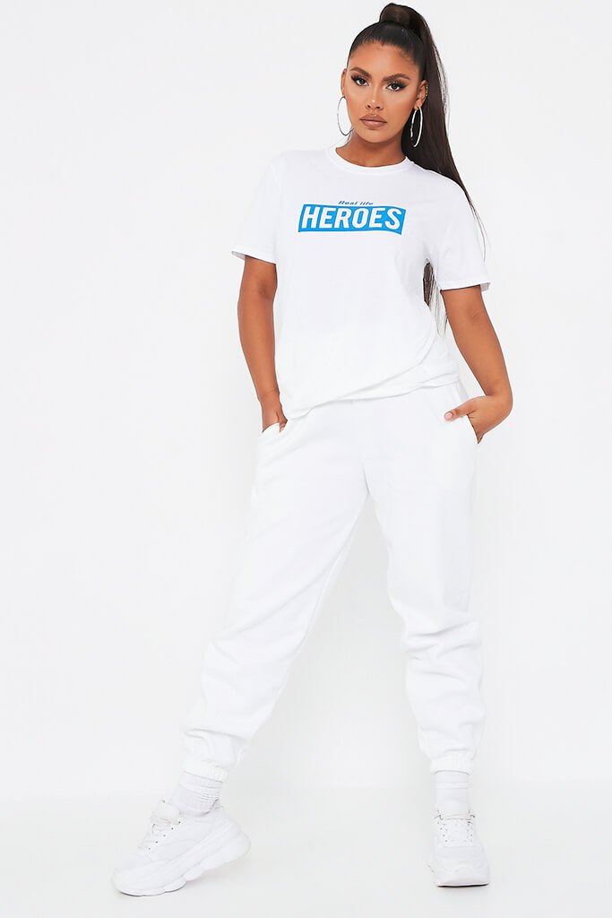 White Charity Heroes Oversized T Shirt view 3
