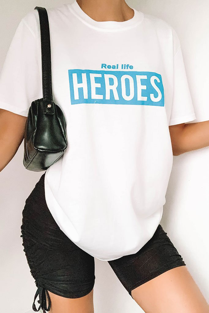 White Charity Heroes Oversized T Shirt