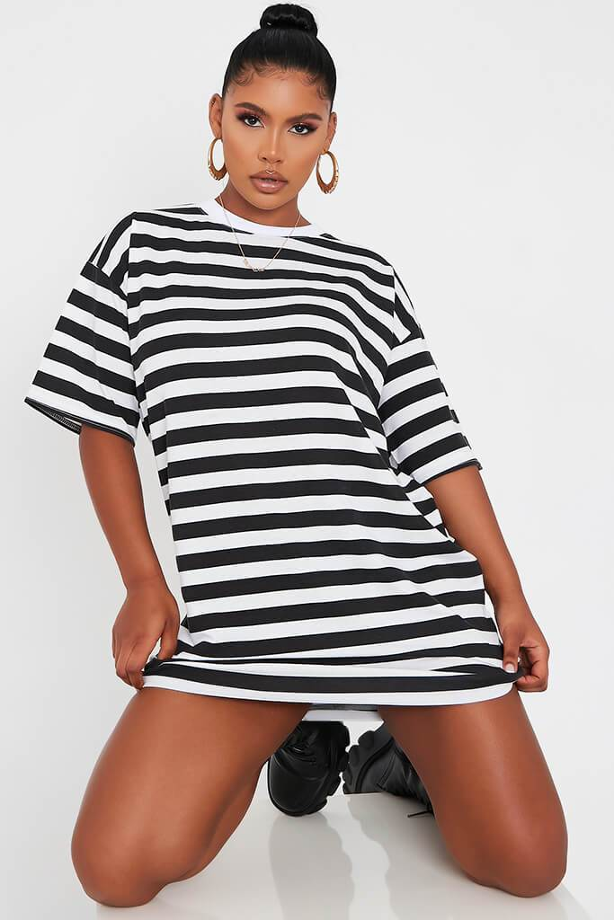 Black Stripe T Shirt Dress