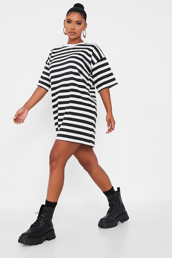 Black Stripe T Shirt Dress view 3