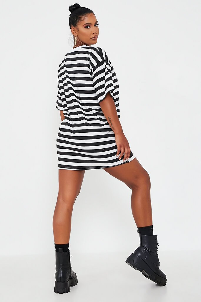 Black Stripe T Shirt Dress view 5
