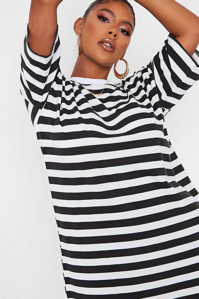 Black Stripe T Shirt Dress view 4