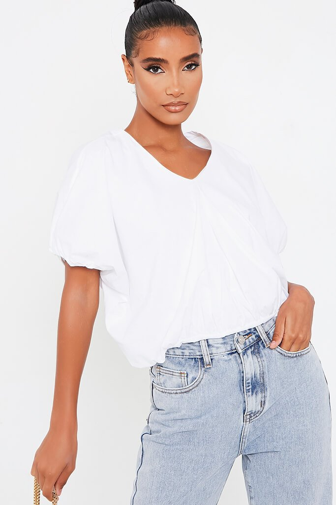 White Cotton Poplin V Neck Puffball Top