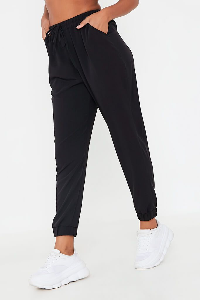 Black Woven Straight Leg Jogger Style Trouser view 2