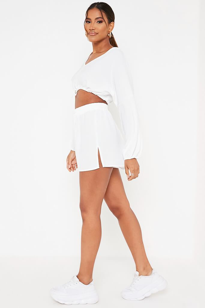 White Woven Crinkle Floaty Shorts view 3