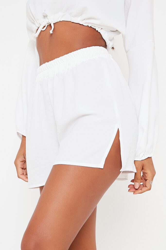 White Woven Crinkle Floaty Shorts view 4