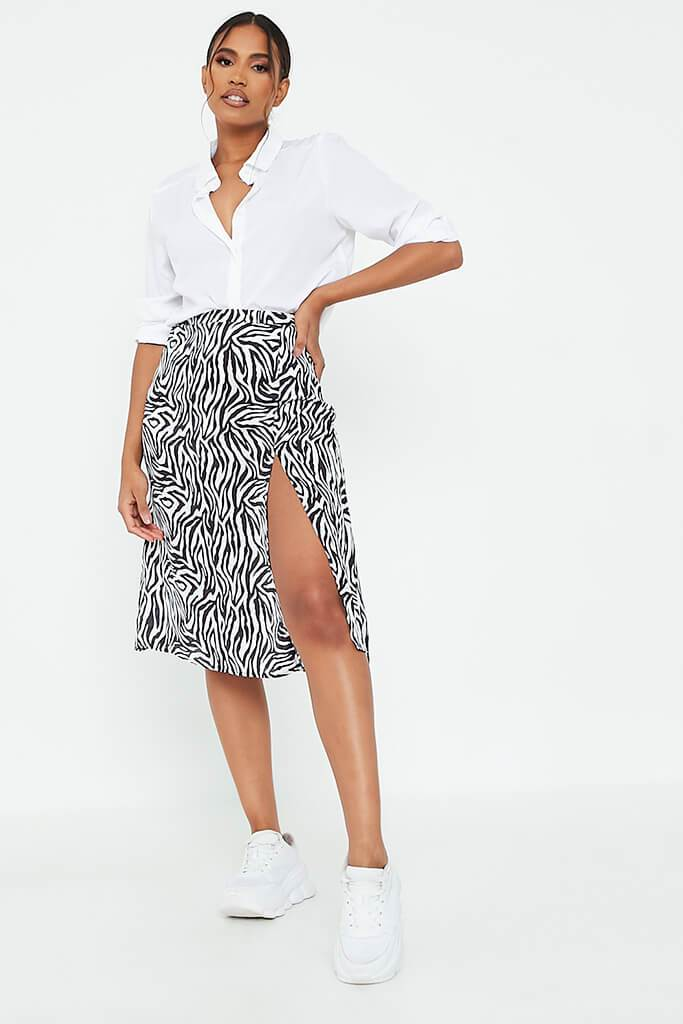 White Zebra Print Woven Slip Skirt view main view