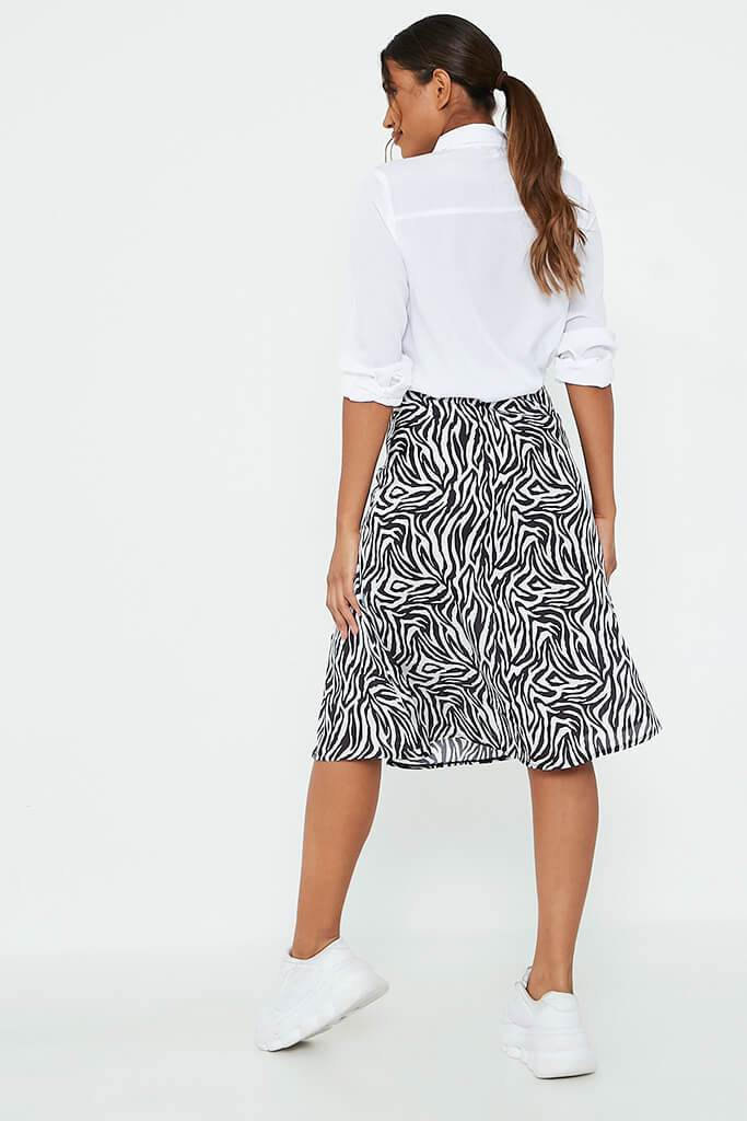 White Zebra Print Woven Slip Skirt view 5