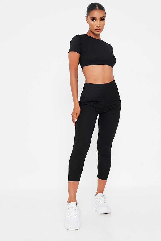 Black Cropped Tee And Legging Set