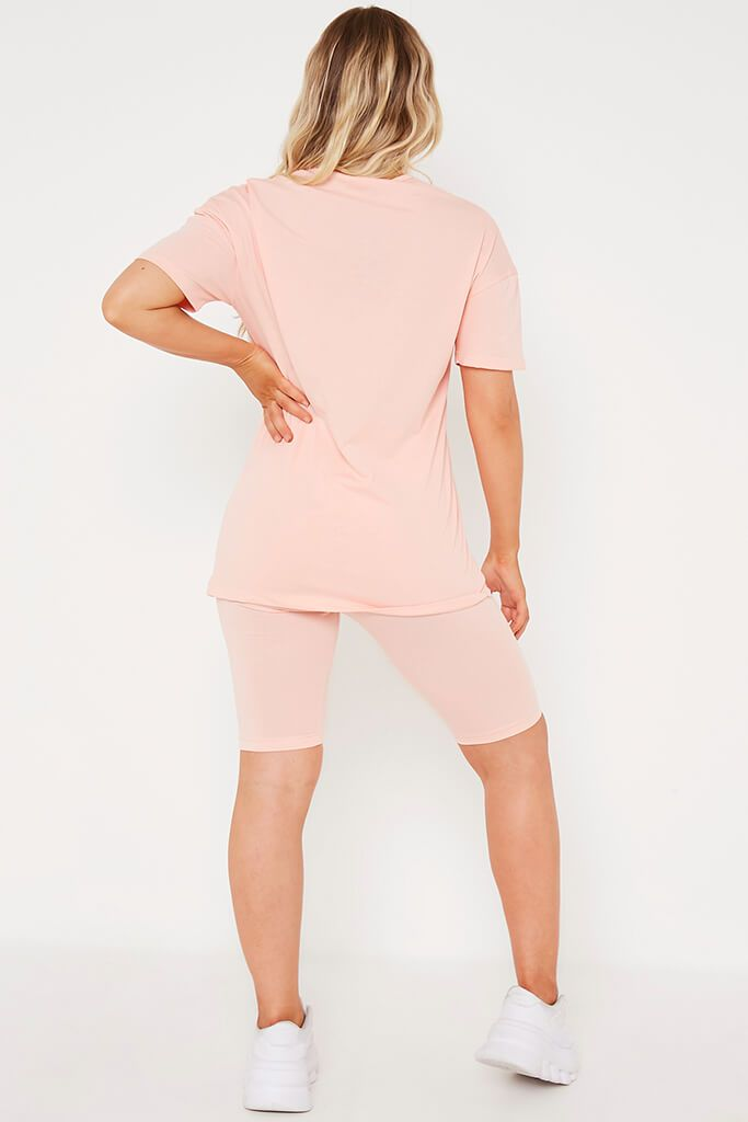 Coral Basic Oversized T Shirt view 5