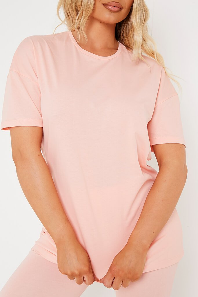 Coral Basic Oversized T Shirt view 4
