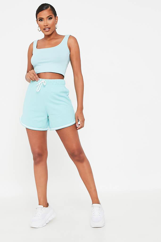 Mint Green Fleece Runner Short view 2