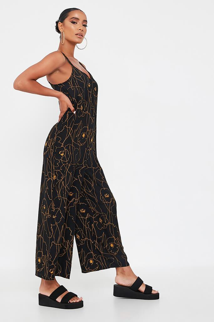 Black Abstract Print Woven Cami Culotte Jumpsuit view 3