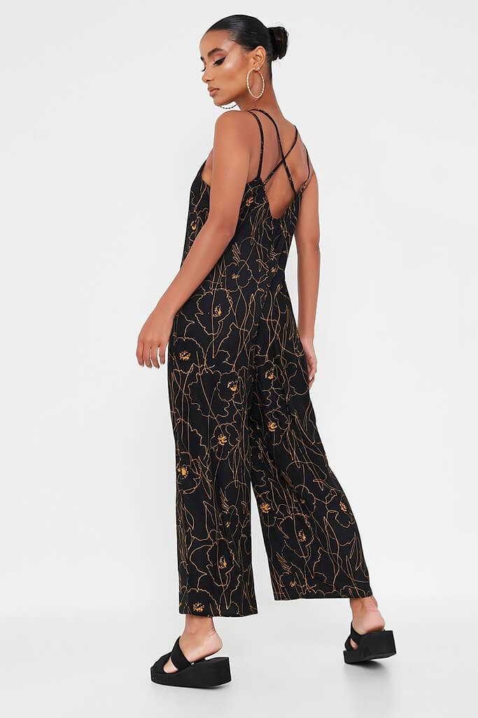 Black Abstract Print Woven Cami Culotte Jumpsuit view 5