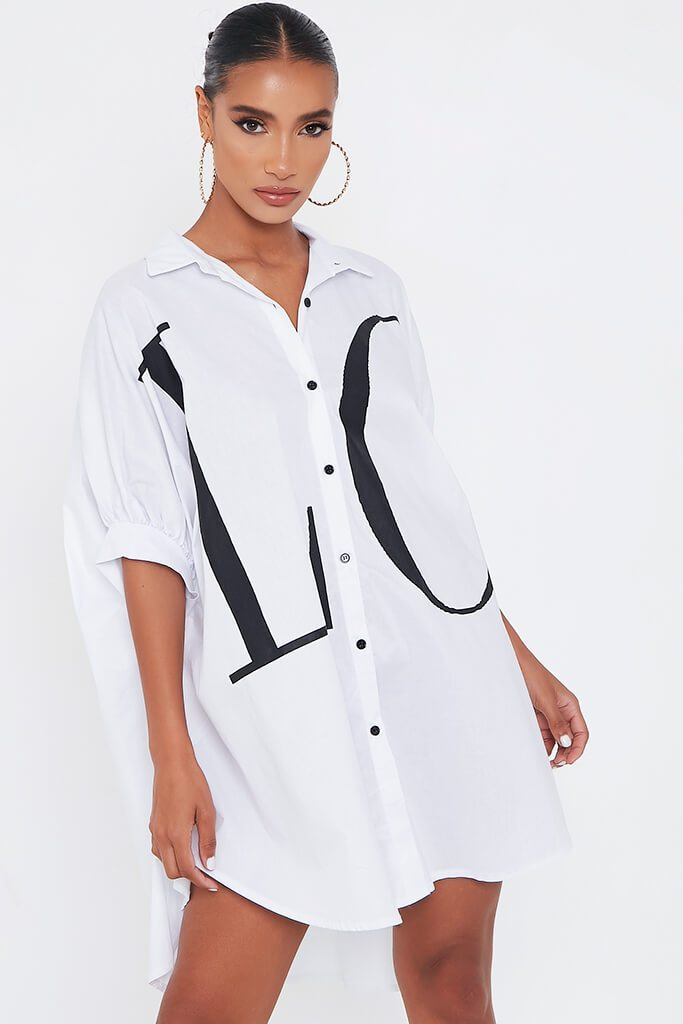 White Oversized Printed Love Shirt Dress