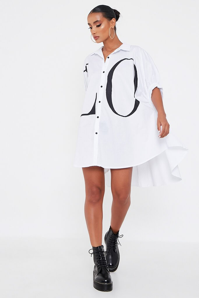 White Oversized Printed Love Shirt Dress view 2