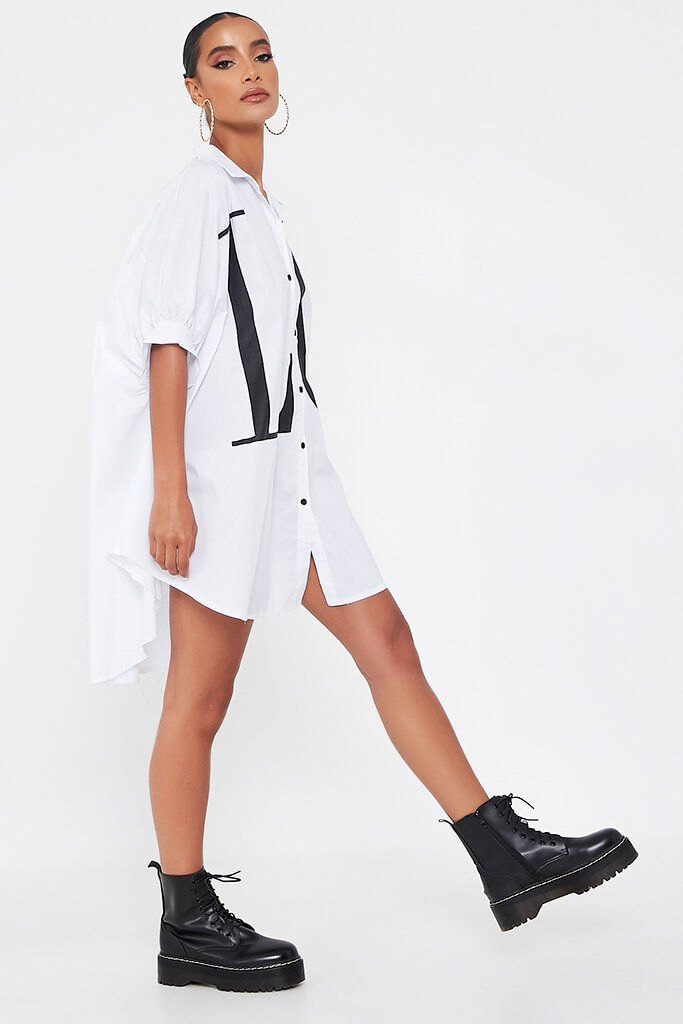 White Oversized Printed Love Shirt Dress view 3