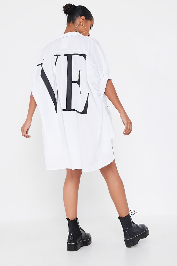 White Oversized Printed Love Shirt Dress view 5